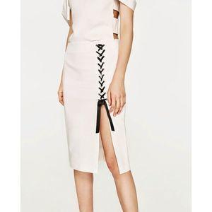 Zara Trafaluc Lace Up Pencil White Skirt Sz Medium